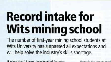 Mining Prospectus – Record Intake For Wits Mining School