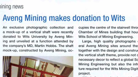 Modern Mining – Aveng Mining Makes Donation To Wits